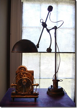 Industrial lamp/steampunk clock via the ever talented Art Donovan )