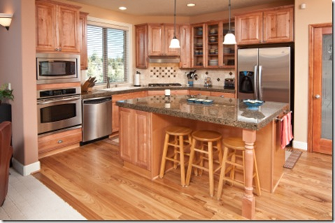 oak cabinets with dark wood floors.  same batch of wood from the logged area So not going to happen This could have benefited a stronger darker floor base and different paint A Reader Asks Must kitchen cabinets match house trims