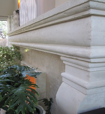 An example of a cast stone mantle
